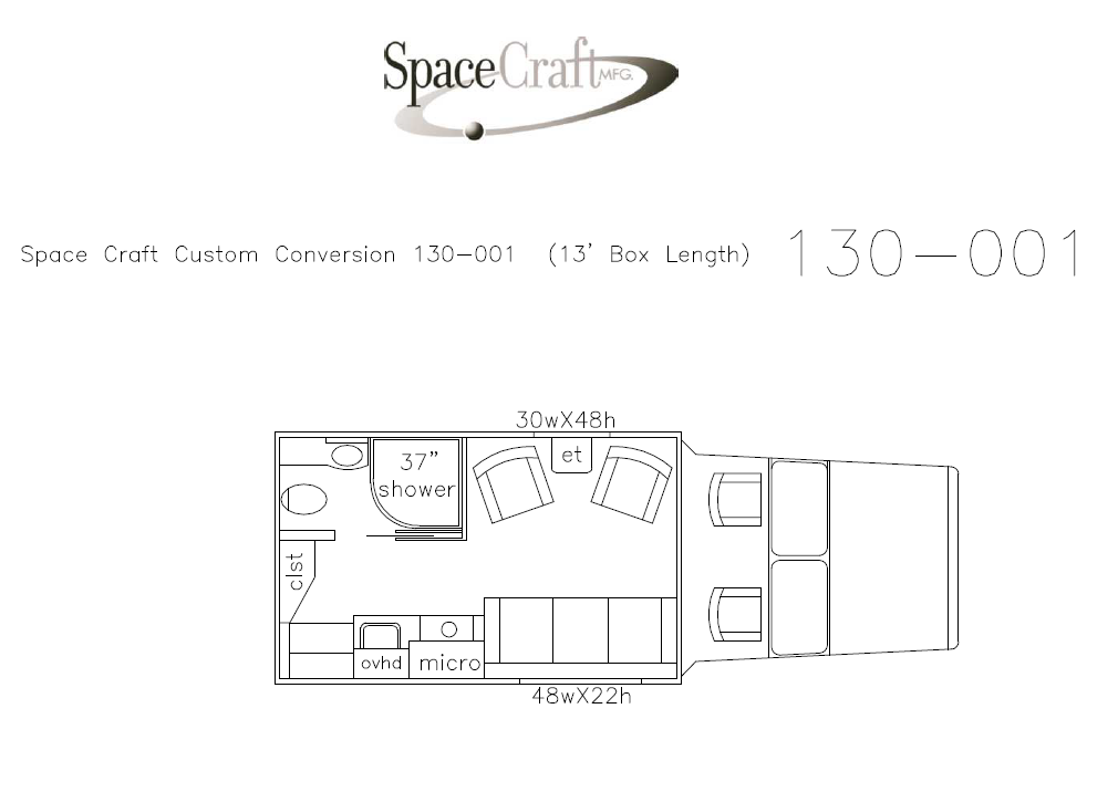 13 foot floor plan 130-001