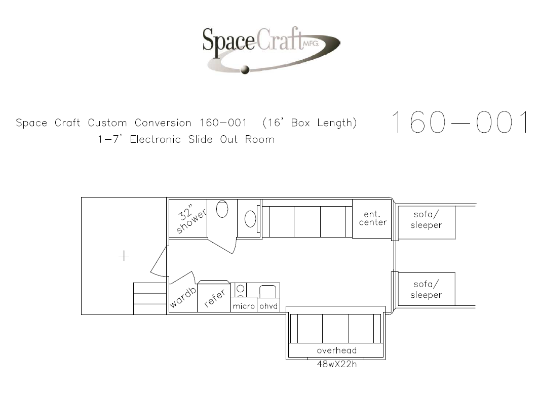 16 foot floor plan 160 - 001