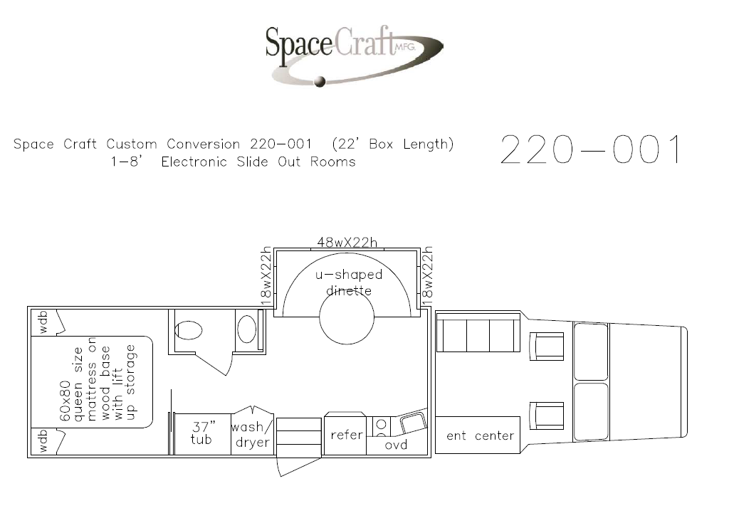 22 foot floor plan 220-001