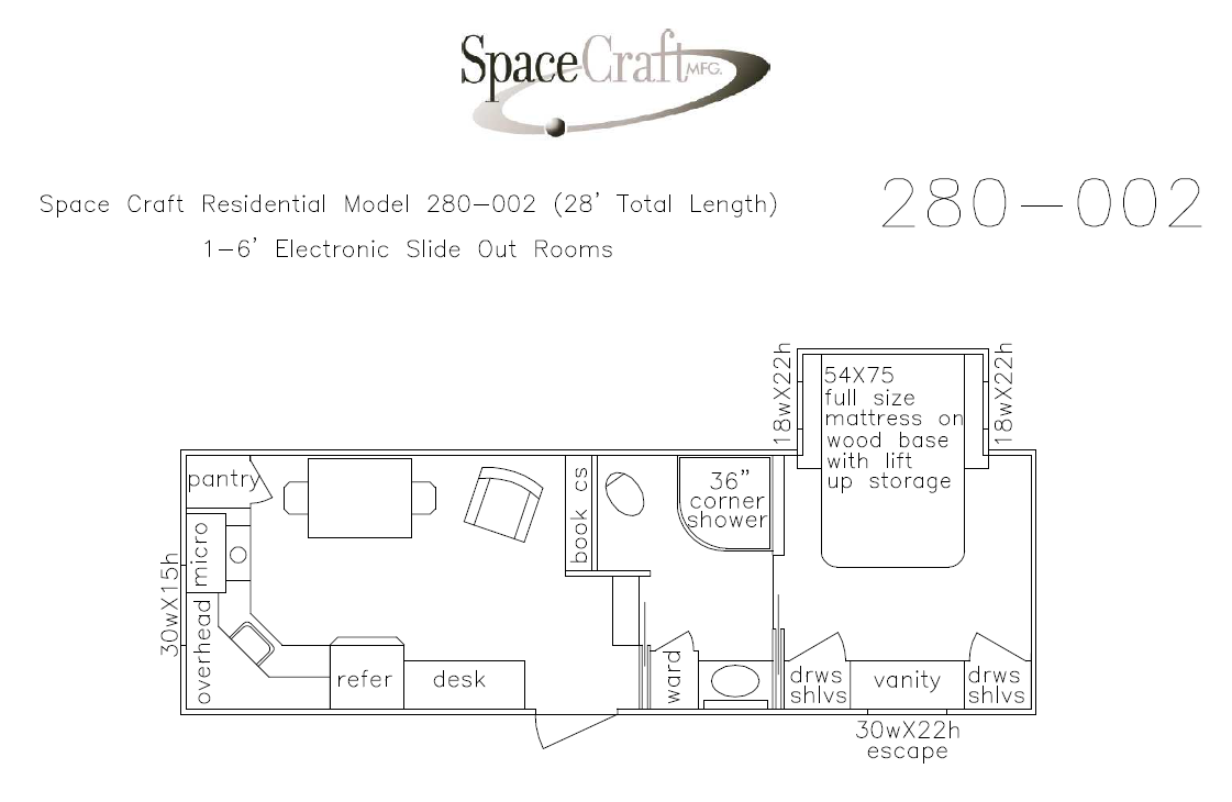 28 foot floor plan 280-002