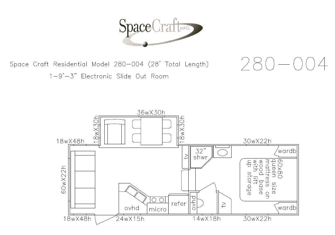 28 foot floor plan 280-004
