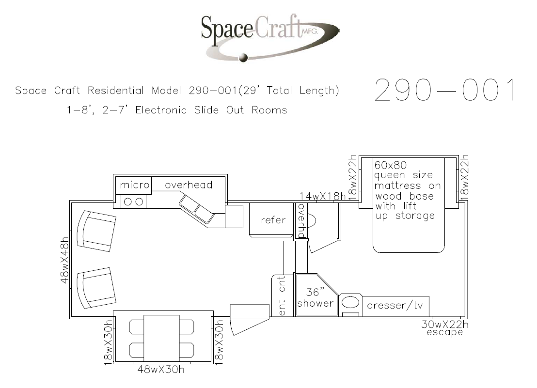 29 foot floor plan 290-001