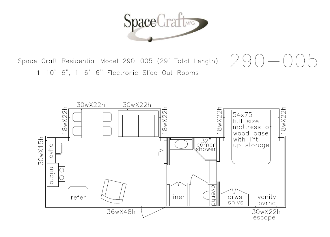 29 foot floor plan 290-005