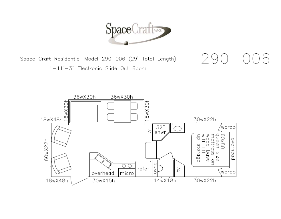 29 foot floor plan 290-006