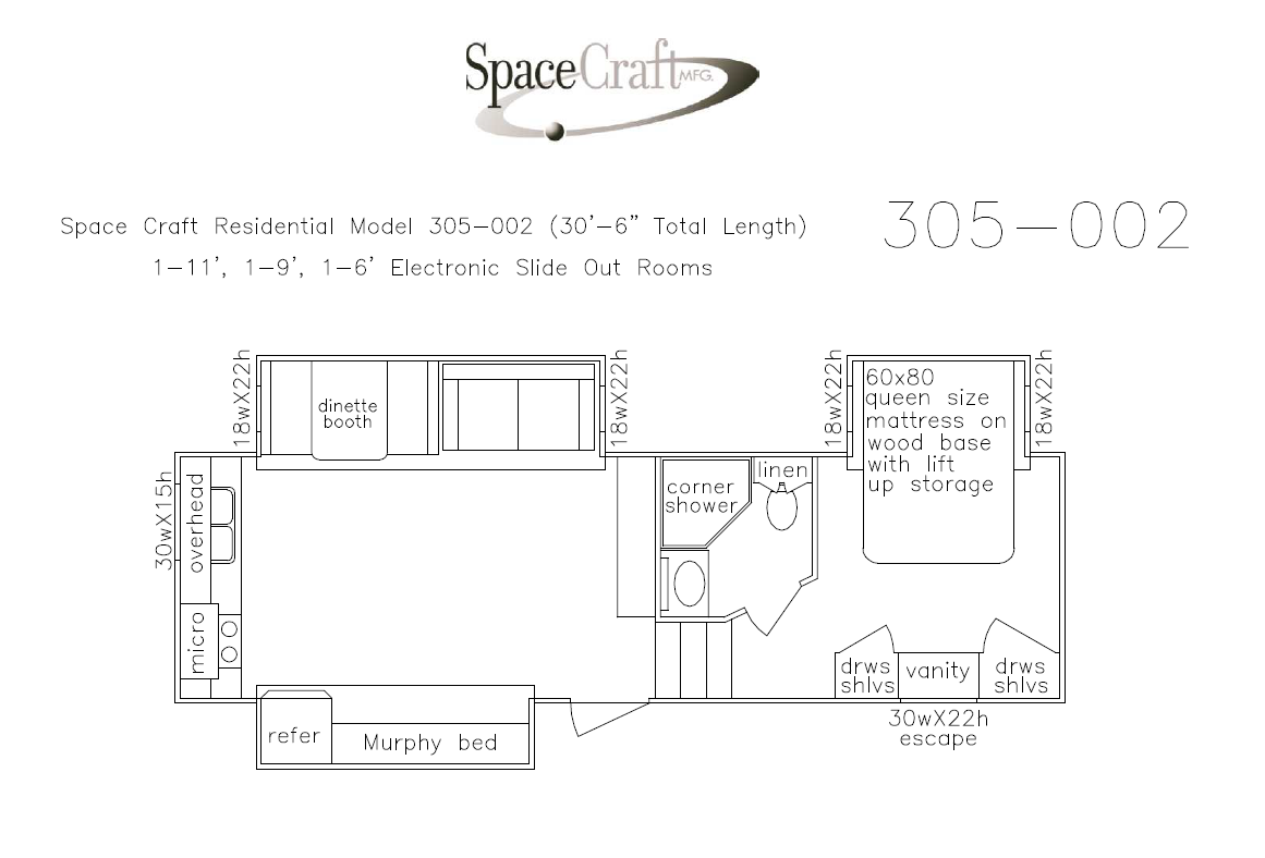 30.5 foot floor plan 305-002