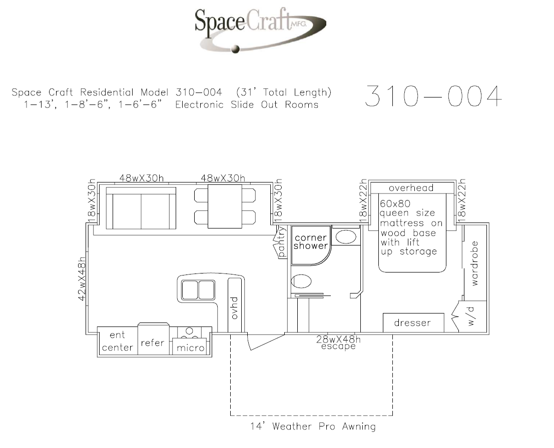 31 foot floor plan 310-004