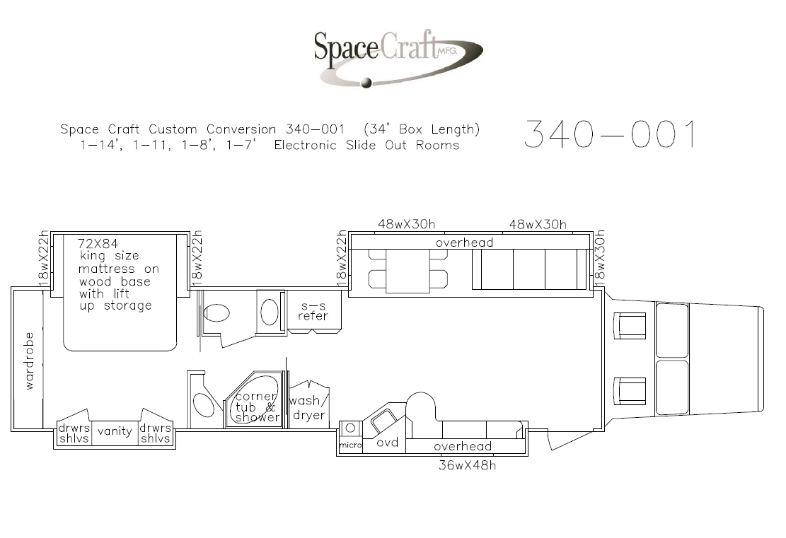 34 foot floor plan 340-001