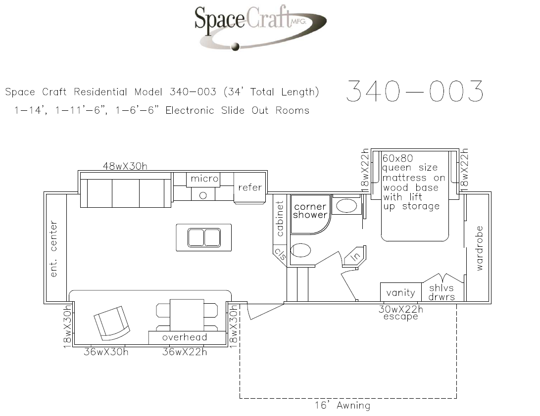 34 foot floor plan 340-003
