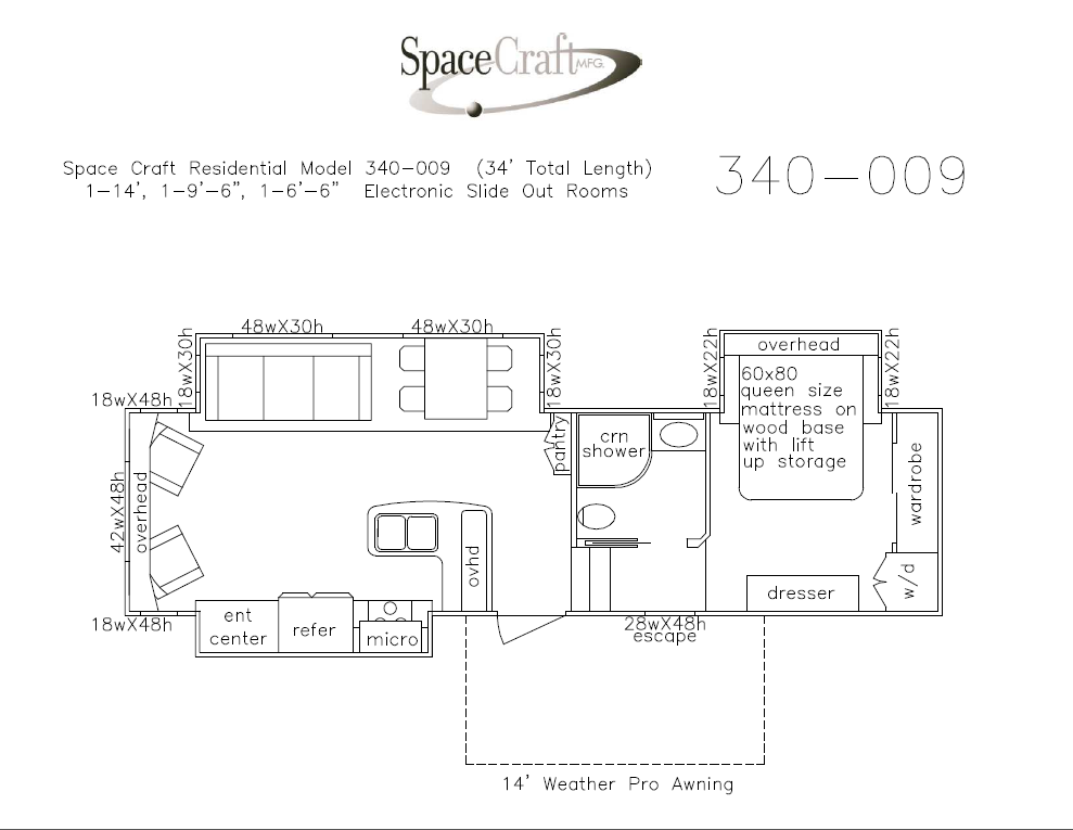 34 foot floor plan 340-009