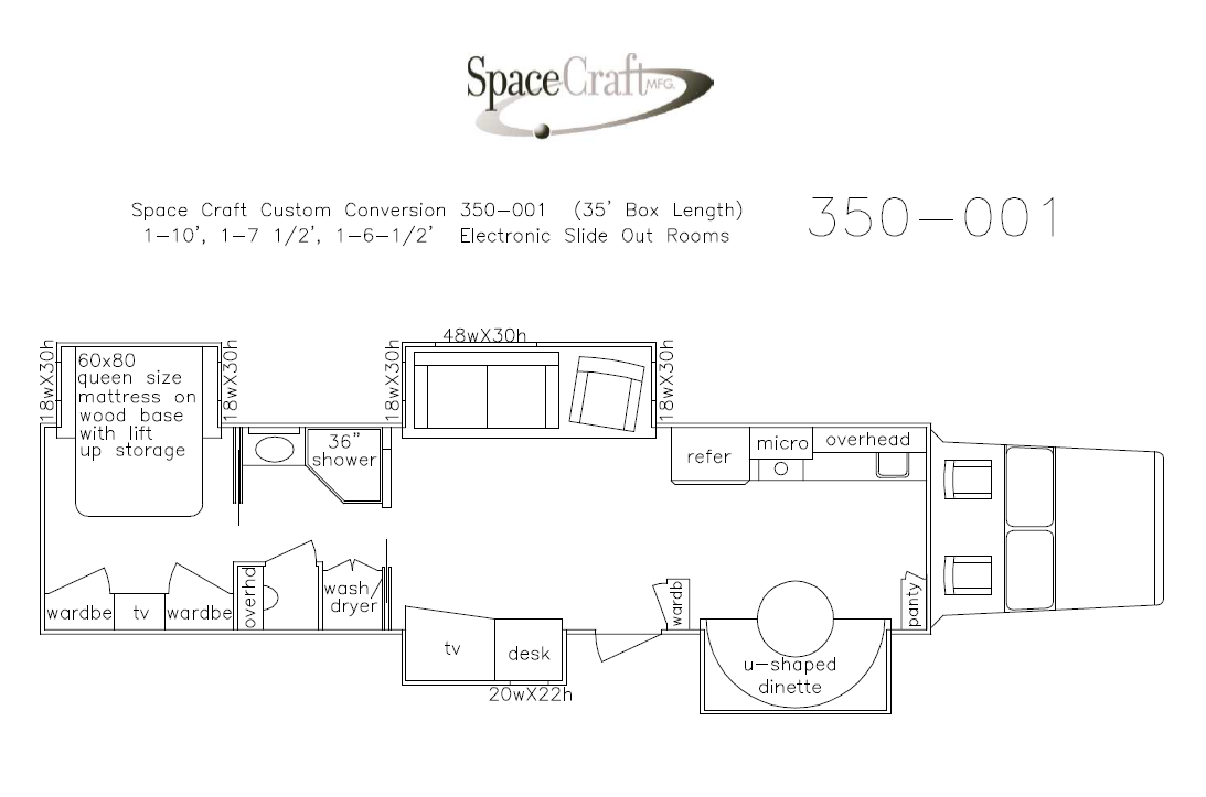 35 foot floor plan 350-001