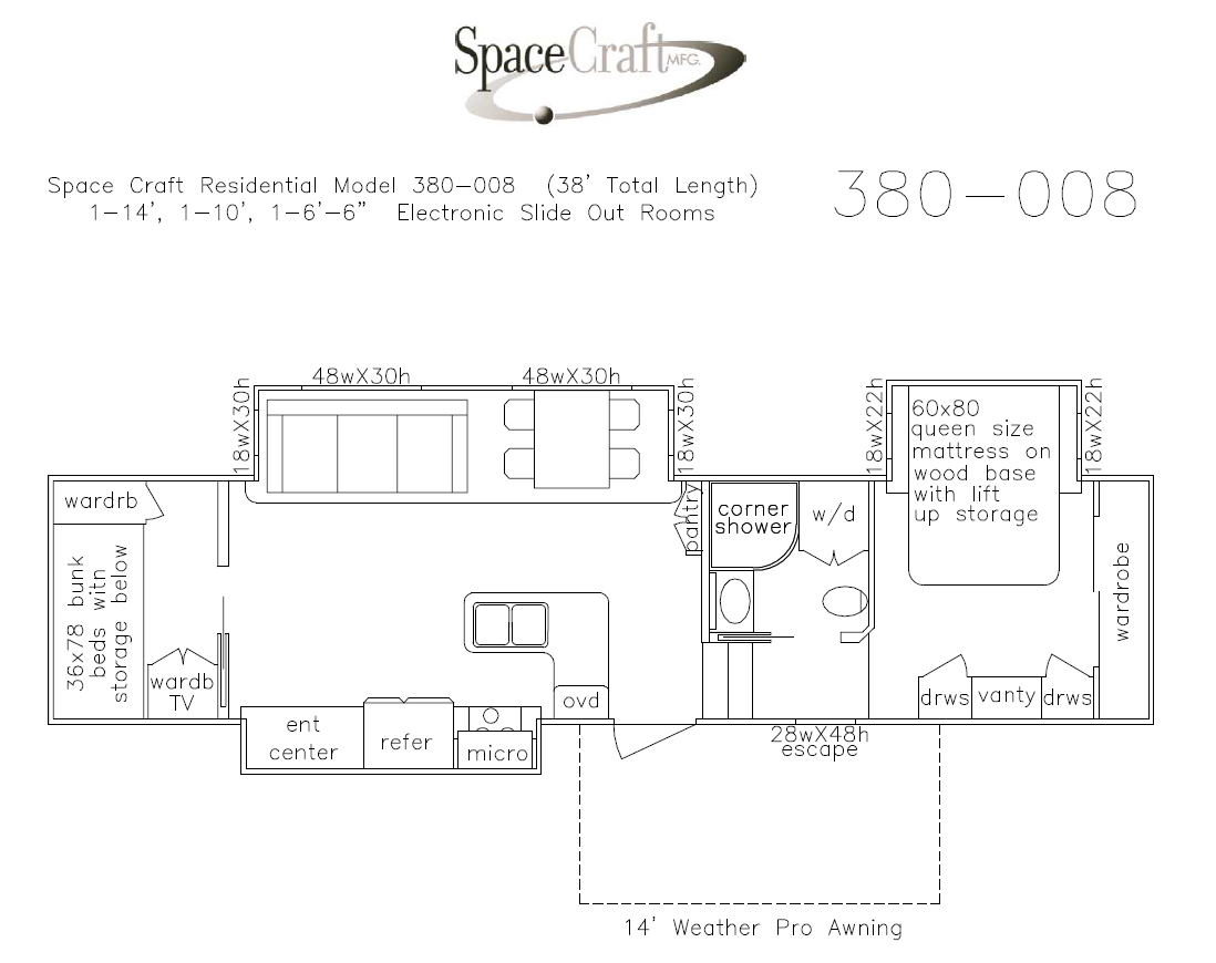 38 foot floor plan 380-008