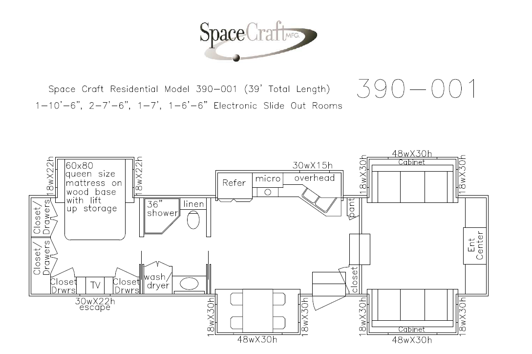39 foot floor plan 390-001