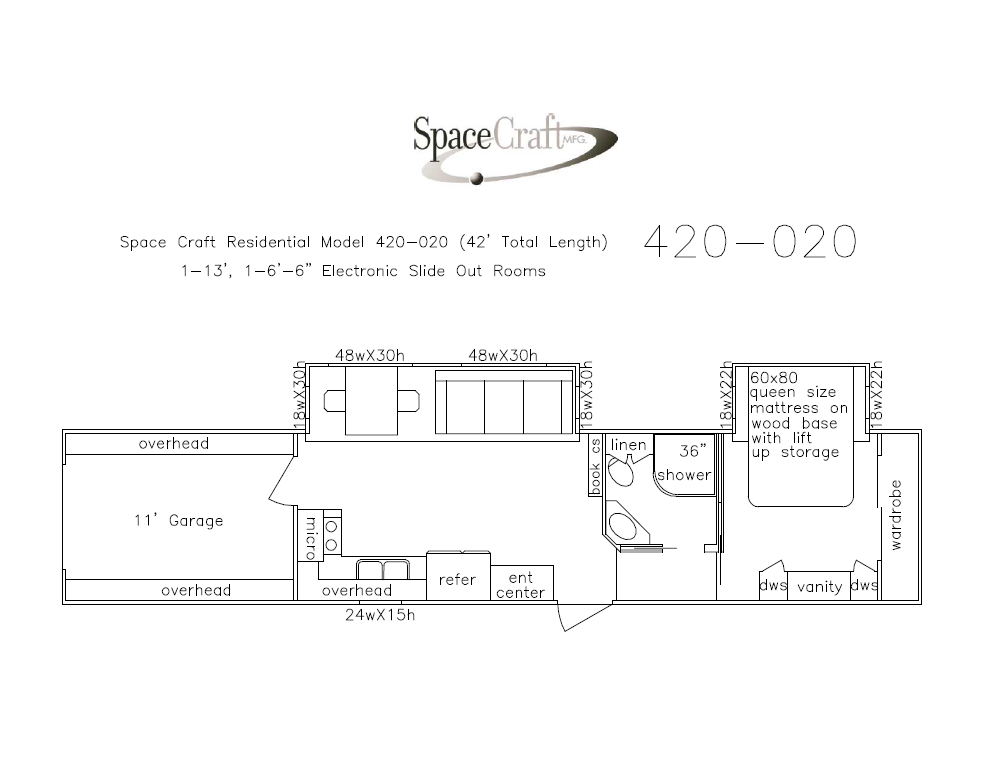 42 foot floor plan 420-020