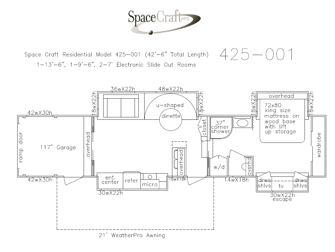 42.5 foot floor plan 425-001