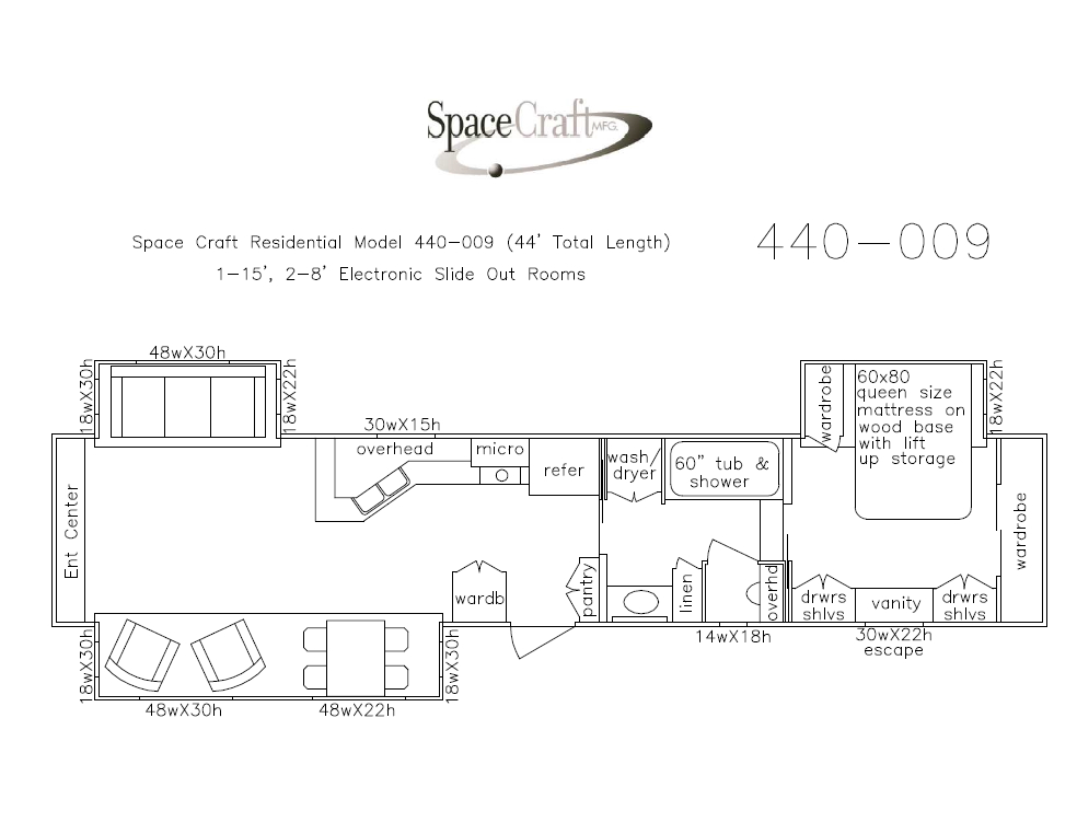 44 foot floor plan 440-009