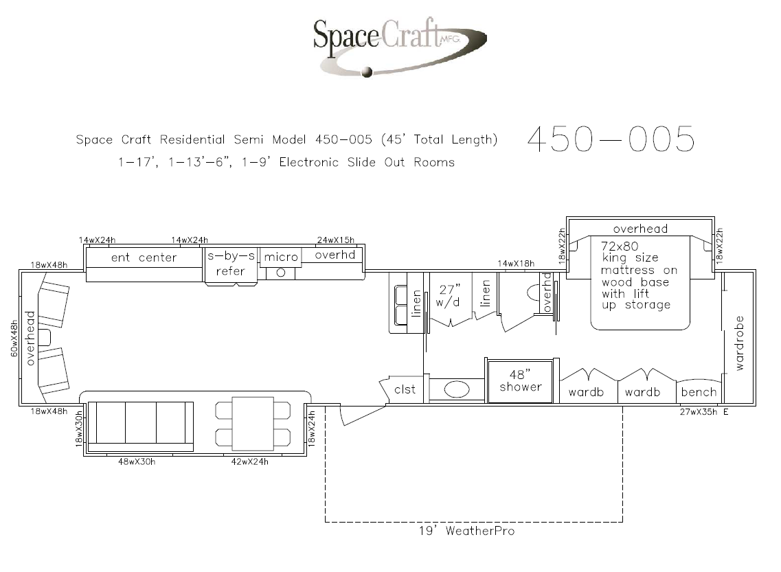 45 Foot Floor Plan 450-005