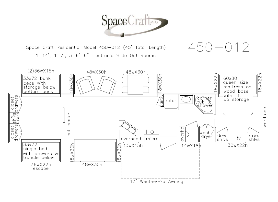 45 foot floor plan 450-012