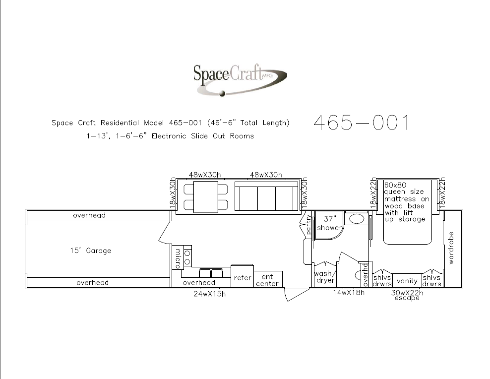 46.5 foot floor plan 465-001