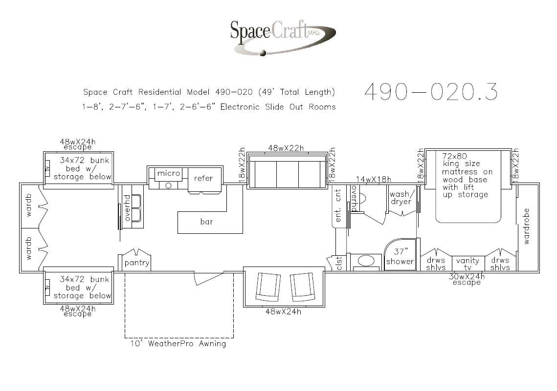 49  foot floor plan 490-020.3