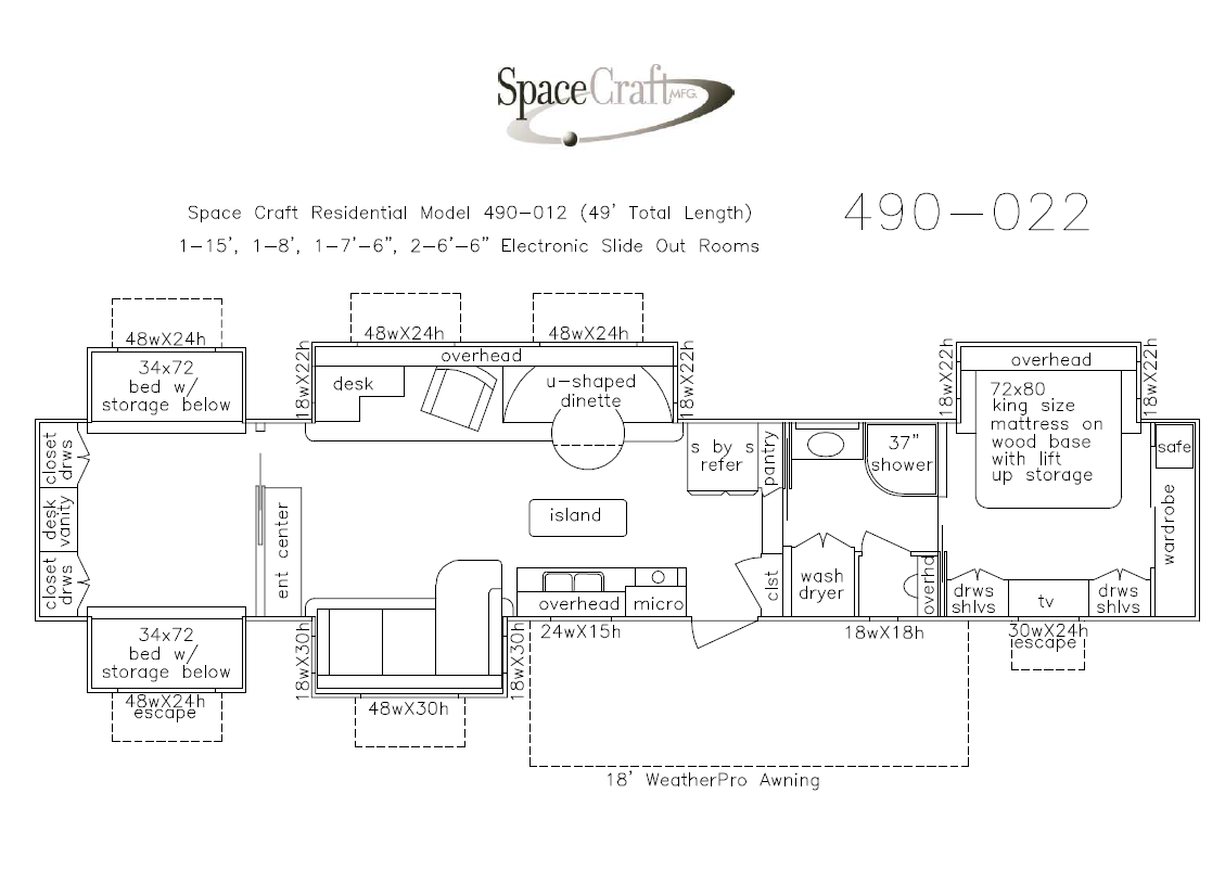 49 foot floor plan 490-022
