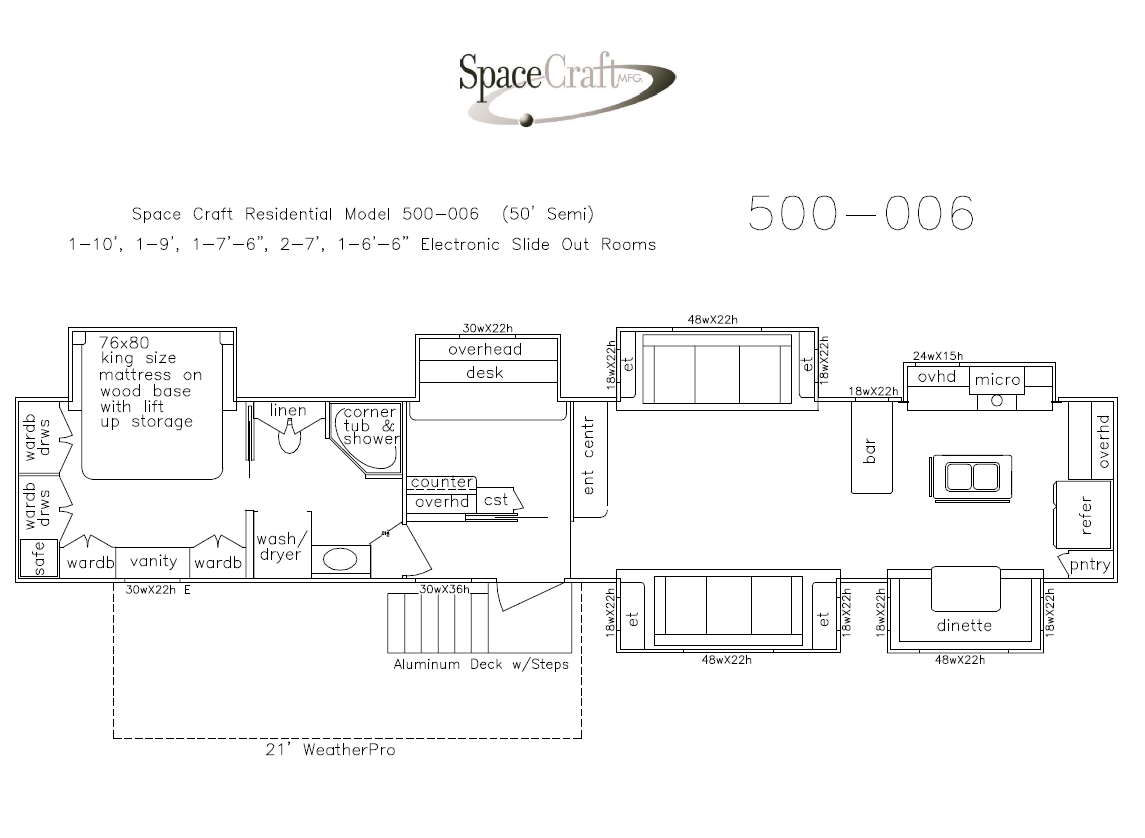 50 Foot Floor Plan 500-006