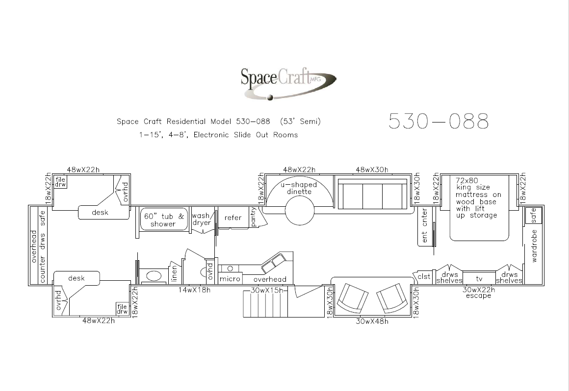 53 Foot Floor Plan 530-088