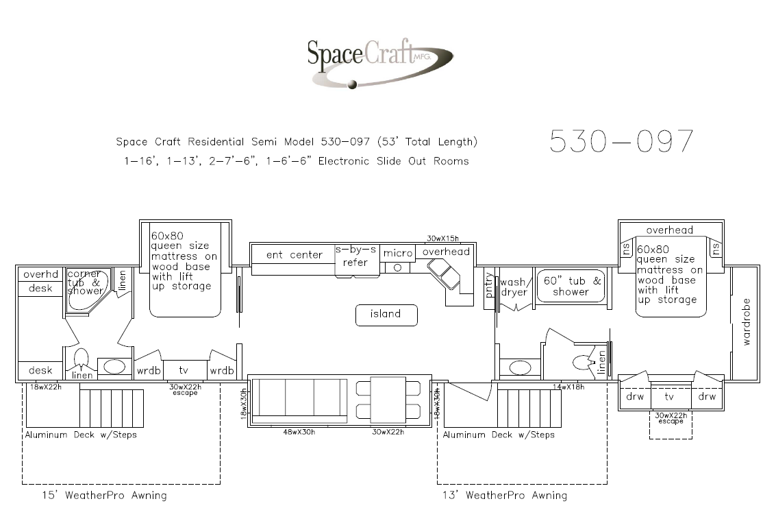 53 Foot Floor Plan 530-097