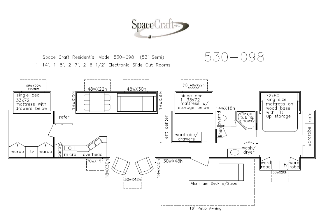 53 Foot Floor Plan 530-098
