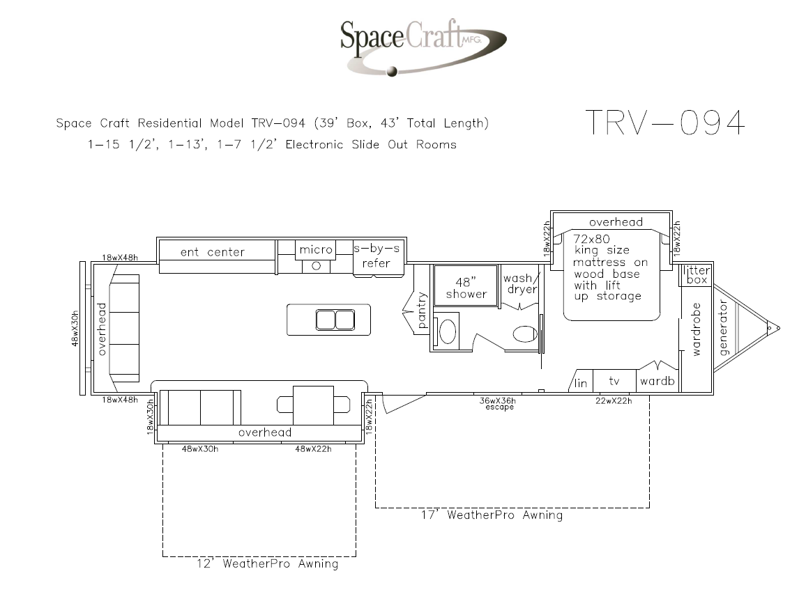 43 foot floor plan TRV-094