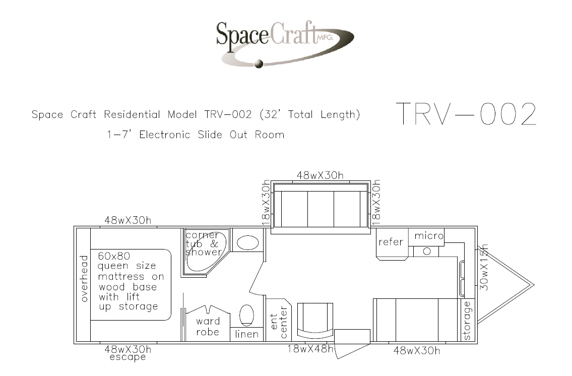 32 foot floor plan TRV-002