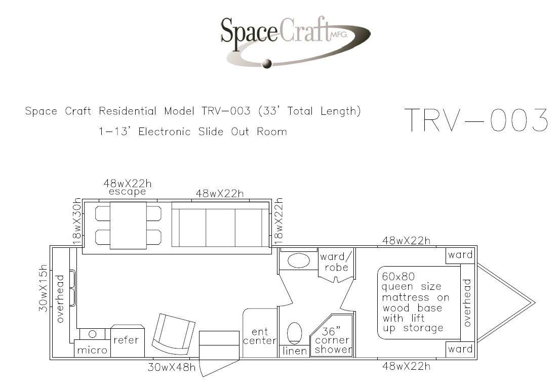 33 foot floor plan TRV-003