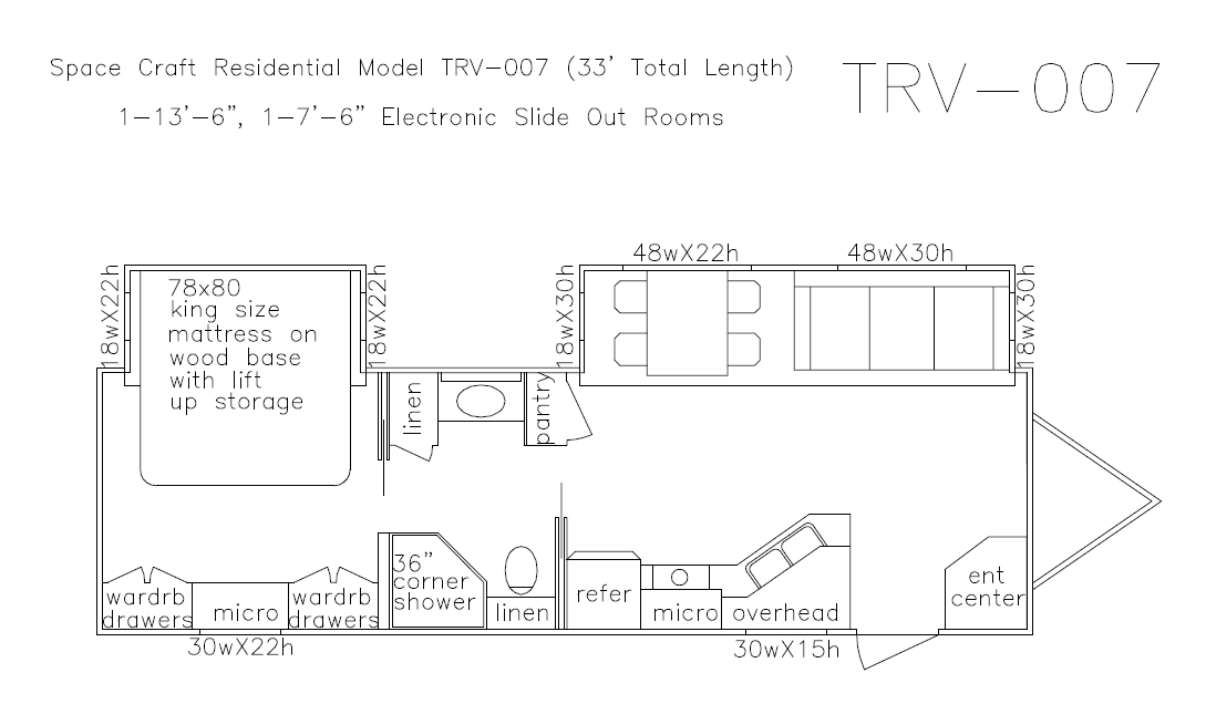 33 foot floor plan TRV-007