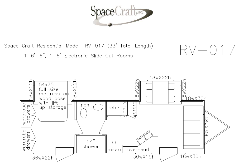 33 foot floor plan TRV-017