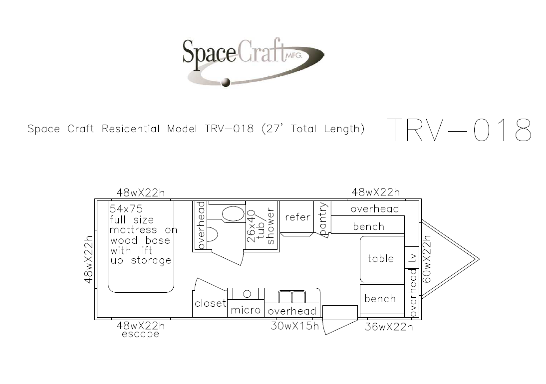 27 foot floor plan TRV-018