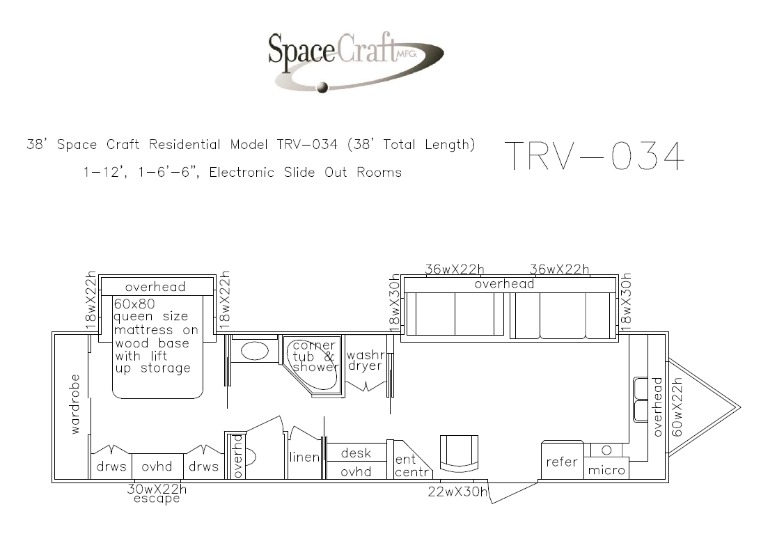 38 foot floor plan TRV-034