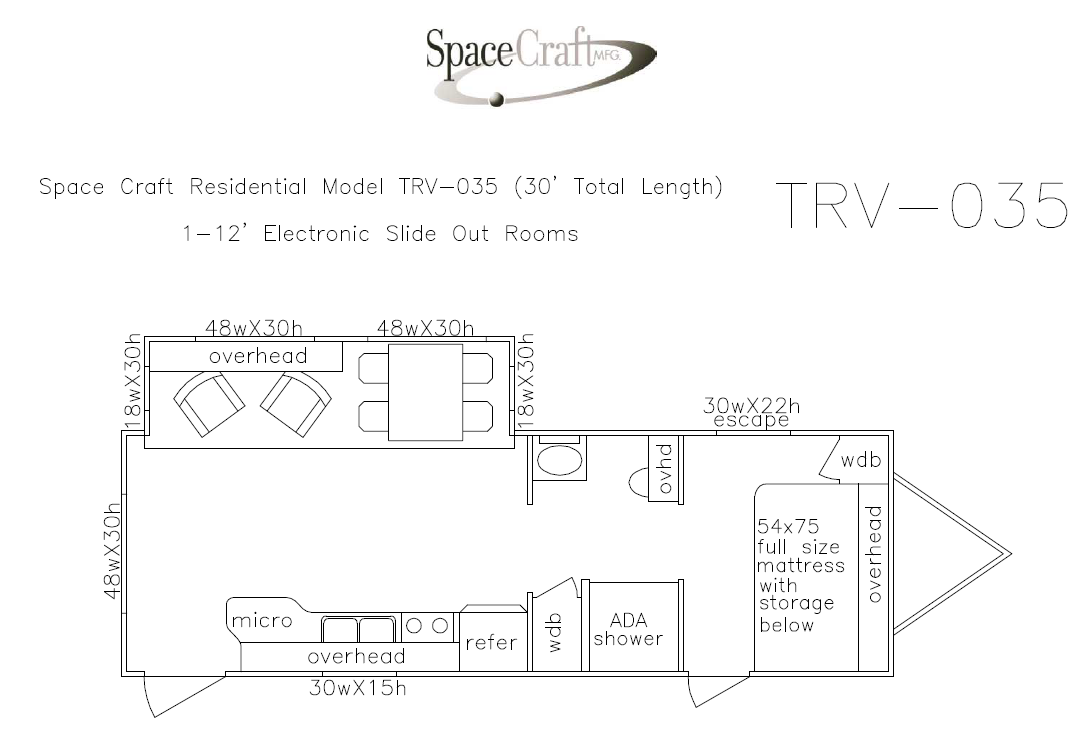 30 foot floor plan TRV-035