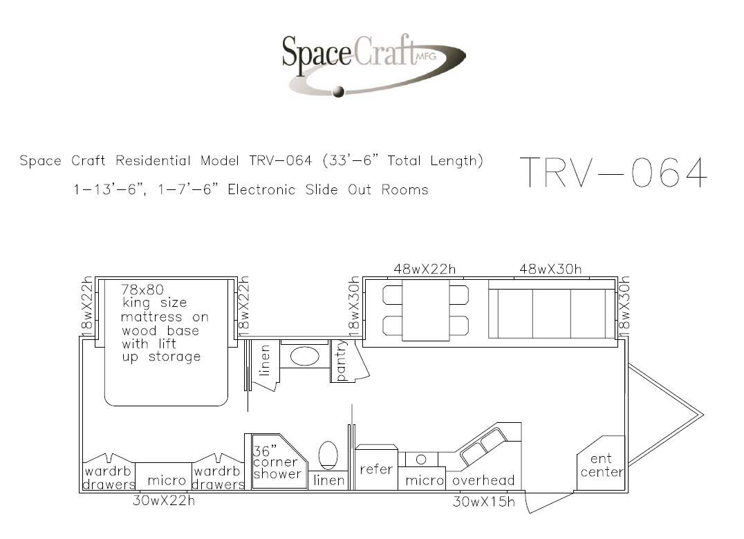 33.5 foot floor plan TRV-064