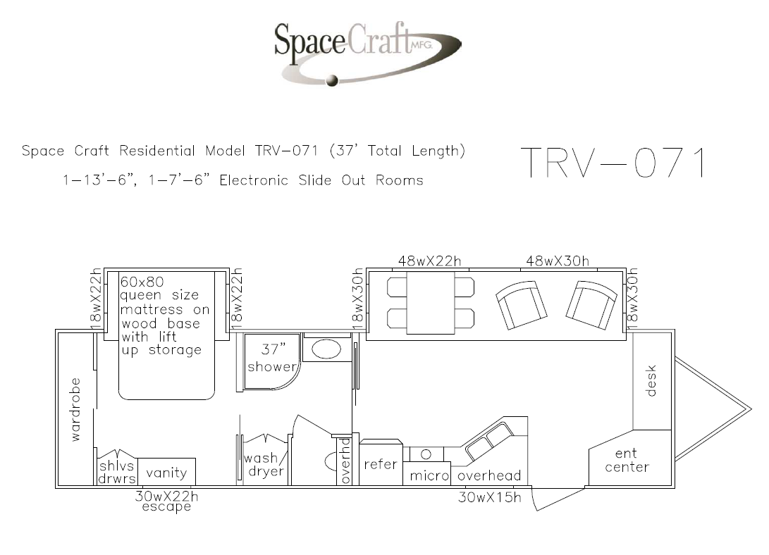 37 foot floor plan TRV-071