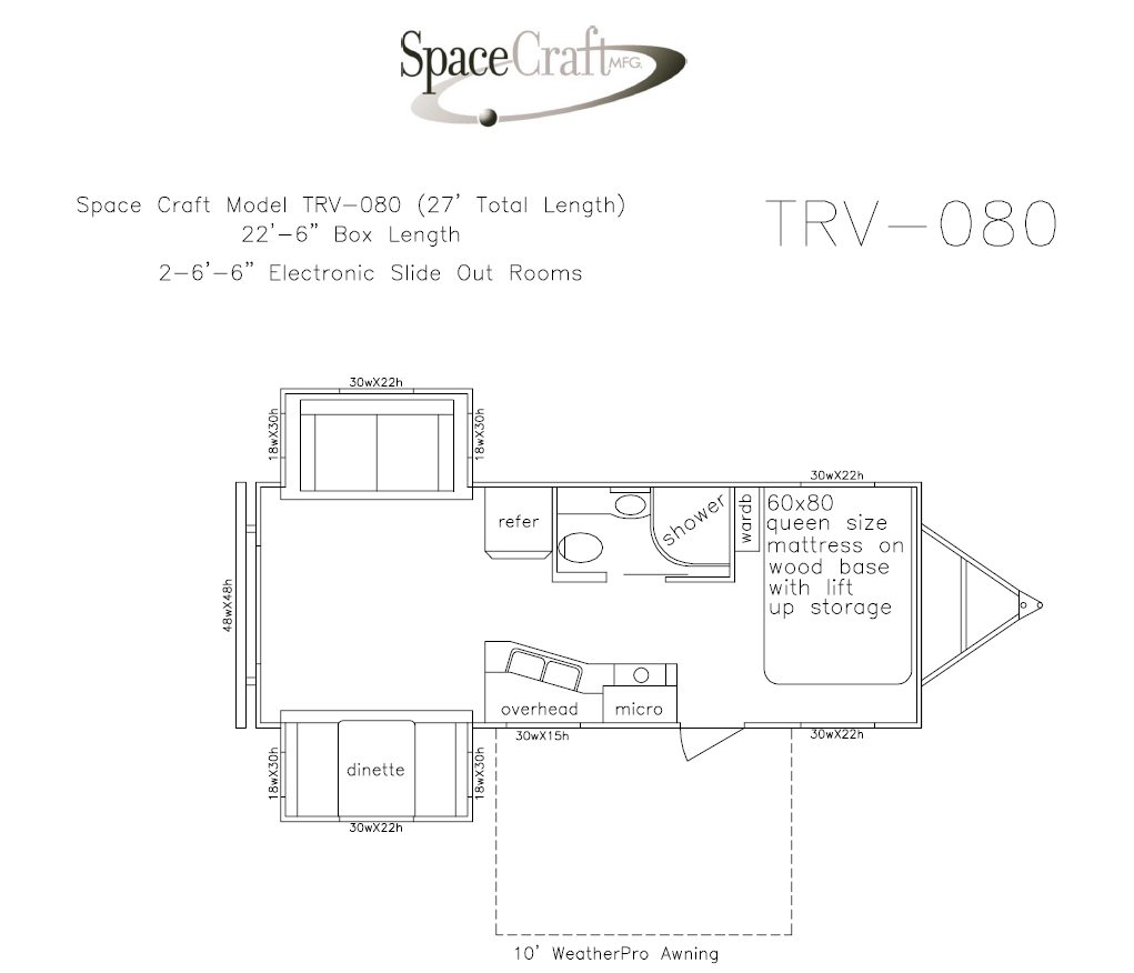 27 foot floor plan TRV-080
