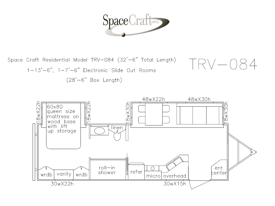32.5 foot floor plan TRV-084
