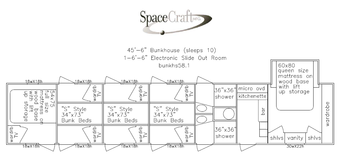45.5 foot floor plan