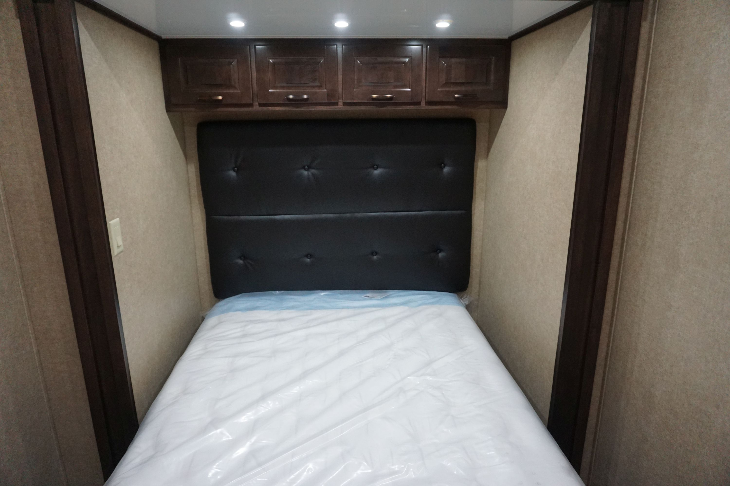 Full Bed with Padded Headboard & Overhead Storage